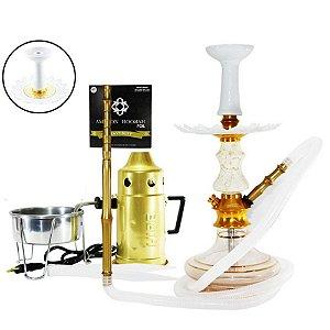 Narguile Amazon Prime Completo Vaso Aladin - Dourado/ Boticcino
