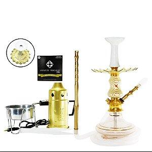 Narguile Amazon Prime Completo Vaso Aladin - Dourado/ Stripes
