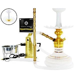 Narguile Triton Zip Completo Vaso Aladin - Dourado e Branco