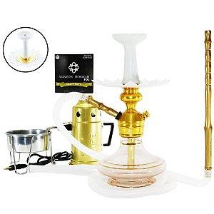 Narguile Triton Zip Completo Vaso Aladin - Dourado e Transparente