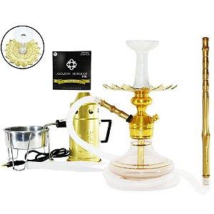 Narguile Triton Zip Completo Vaso Aladin - Dourado/ Gold