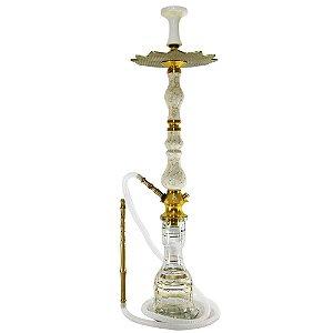 Narguile Amazon Luxury Completo Vaso Sino - Dourado/Boticcino Marmorizado