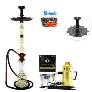Narguile Luxury Amazon Hookah Completo Kit- Bronze/ Boticcino
