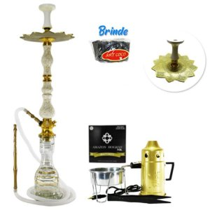 Narguile Luxury Amazon Hookah Completo Kit- Dourado/ Boticcino