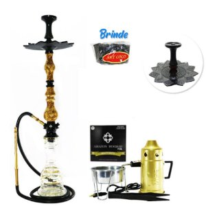 Narguile Luxury Amazon Hookah Completo Kit- Preto/ Piopo
