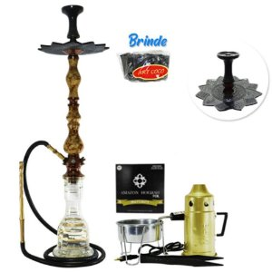 Narguile Luxury Amazon Hookah Completo Kit- Bronze/ Piopo