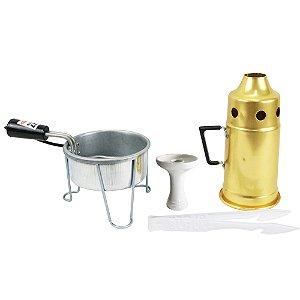 Kit Abafador Dourado + Rosh Shisha Glass + Pegador Black + Acendedor Art Coco