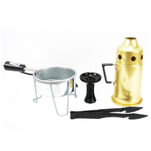 Kit Abafador Dourado+ Rosh Shisha Glass + Pegador Black Preto + Acendedor Art Coco