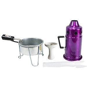 Kit Abafador Roxo+ Rosh Shisha Glass + Pegador Black Branco + Acendedor Art Coco