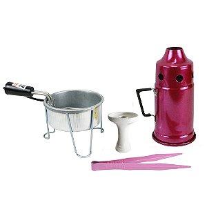 Kit Abafador Rosa+ Rosh Shisha Glass + Pegador Black Rosa + Acendedor Art Coco