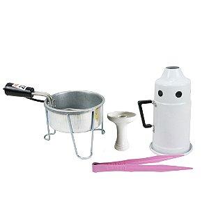 Kit Abafador Branco + Rosh Shisha Glass + Pegador Black + Acendedor Art Coco