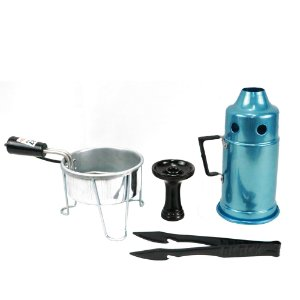 Kit Abafador Azul+ Rosh Shisha Glass + Pegador Black Preto+ Acendedor Art Coco