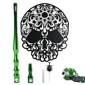Kit sorrilha Hookah Tapete + Piteira + Piteira Higiênica + Furador - Preto e Verde