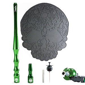 Kit sorrilha Hookah Tapete + Piteira + Piteira Higiênica + Furador - Verde e Preto