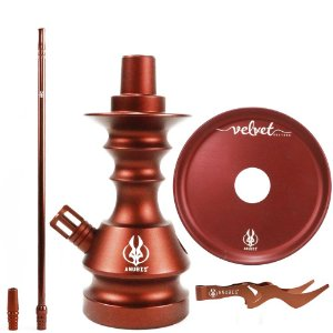 Kit Anubis Hookah Velvet Stem+ Piteira+ Prato+ Pegador Bronze