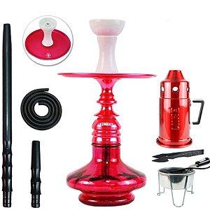Narguile Kit Amazon  Kombat Completo Vaso Aladin - Vermelho