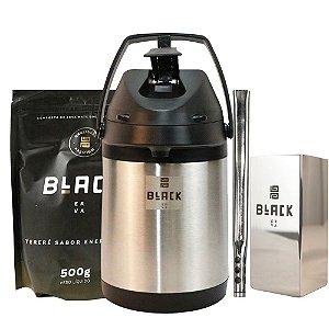 Kit Terere Black Erva + Garrafa Térmica + Bomba Inox + Copo Inox- Energético