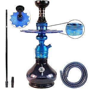 Narguile Triton Zip Completo Com Hoover - Azul Vaso Preto
