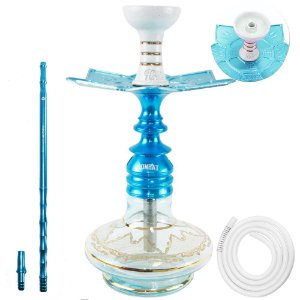 Narguile Amazon Kombat Pequeno Completo Vaso Aladin-  Azul Vaso Transparente