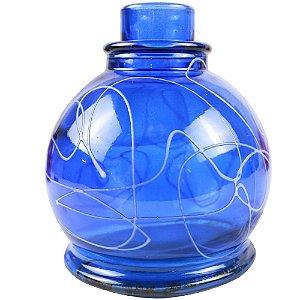 Vaso Pequeno Anubis Art Glass - Azul com Branco