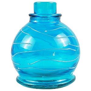 Vaso Pequeno Anubis Art Glass - Azul Bebê com Branco