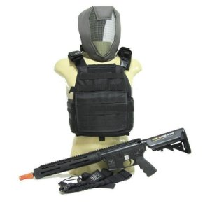 KIT SOLDIER - M4 ECHO1 + COLETE .50 + BANDOLEIRA + MÁSCARA FULL FACE