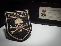 PATCH BORDADO ASSAULT CAVEIRA  - PONTO MILITAR