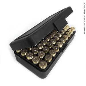 Caixa plástica bélica p/ 50 munições cal. 40 compatível com 9mm / 380 acp e 7.65