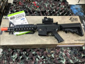 PROMOÇÃO - Rifle Airsoft  JG Works - M4 4003MG + Bateria Nimh + Carregador SkyRC En3 + Grip + Red Dot + BBs