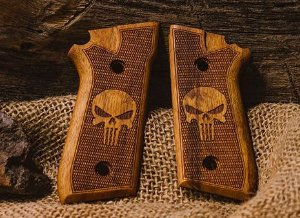 Empunhadura / Tala em Madeira para pistola Taurus pt 58 HC PLUS, 59S, 92, 100, 101, 917c ( Punisher ) - Mbt