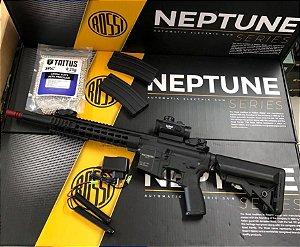 PROMOÇÃO - Rifle Airsoft Rossi - AR15 Keymod 10P Neptune + 2 mid cap + BBs 0,25 + Red dot + Bateria + Carregador