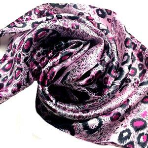 Lenço animal print rosa