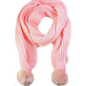 Cachecol com pompom rosa