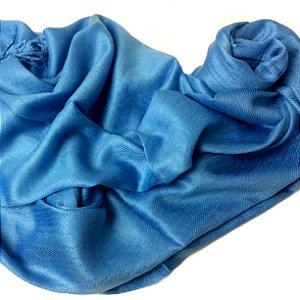 Pashmina lisa azul