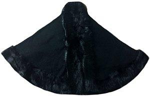 Xale/Pelerine/Estola/Capa com pele preta