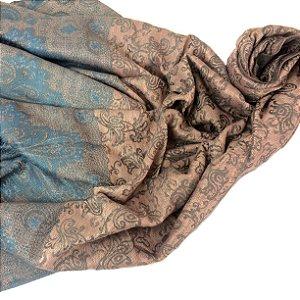 Pasmhina jacquard rose com azul