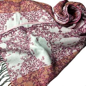 Manta/cachecol argentino floral rosa