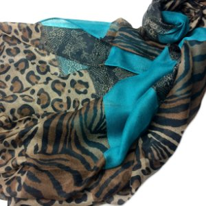 Echarpe animal print com turquesa