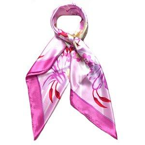 Lenço floral rosa