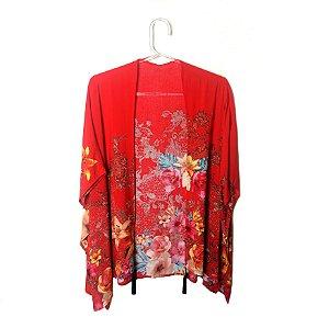 Quimono floral vermelho