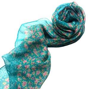 Echarpe floral turquesa