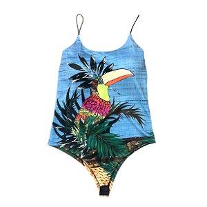 Body com bojo - tucanos fundo azul