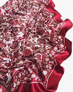 Lenço floral vermelho com branco
