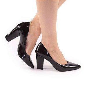 Scarpin verniz preto - salto confort