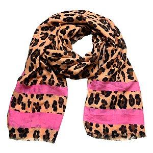 Echarpe animal print pêssego com pink