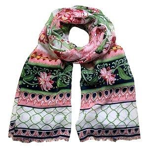 Echarpe floral com arabescos