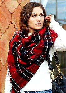 Pashmina/manta xadrez vermelha