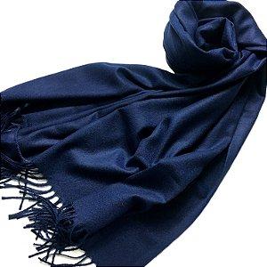Pashmina padronagem cashmere azul marinho