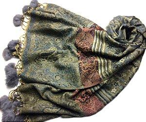 Pashmina com pompom de pele cinza