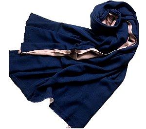 Pashmina dupla LeLi Corrales - azul marinho e rose
